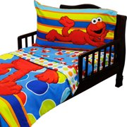 4pc Sesame Street Toddler Bedding Set Elmo Polka Dots Comforter and Sheet Set