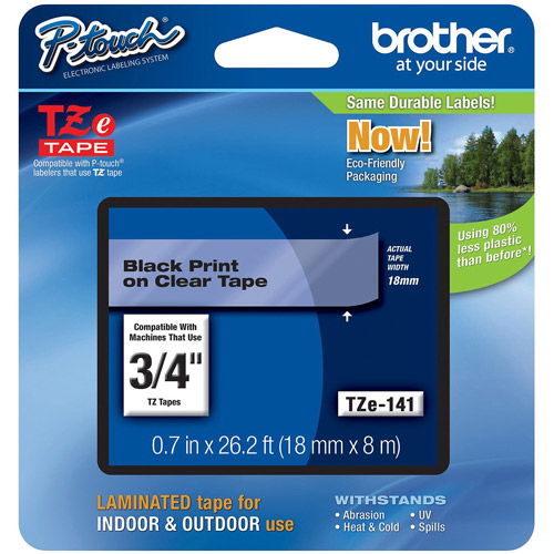 "Brother P-Touch TZE141 3/4"" Labeling Tape, Black on Clear"