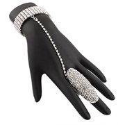 Silvertone Fully Iced Out Oval Style Adjustable Finger Ring and Hand Chain Bracelet