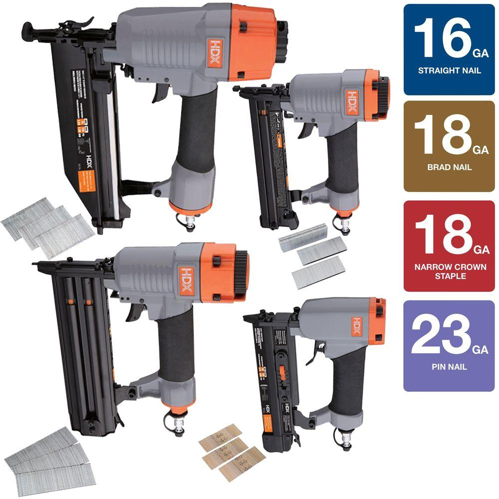HDX Pneumatic Finish Crown Kit 16 23 18-Gauge Brad Nailer 4-Piece Nail Gun HDX4PFNK by