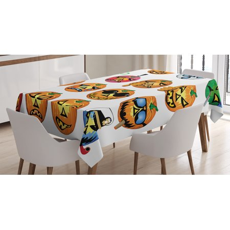 Halloween Decorations Tablecloth, Carved Pumpkin with Emoji Faces Halloween Humor Hipster Monsters Art, Rectangular Table Cover for Dining Room Kitchen, 60 X 84 Inches, Orange, by Ambesonne - Good Halloween Pumpkin Carvings