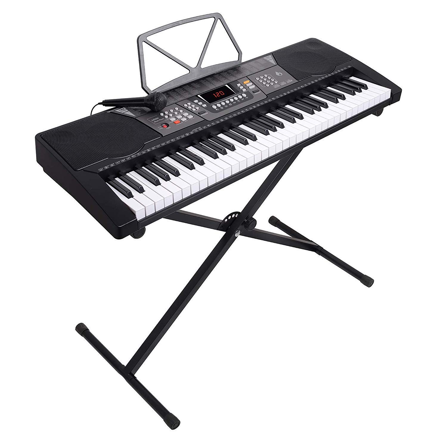 61 Key Digital Electronic Keyboard/&Microphone Electric LED Adult Size W// Stand