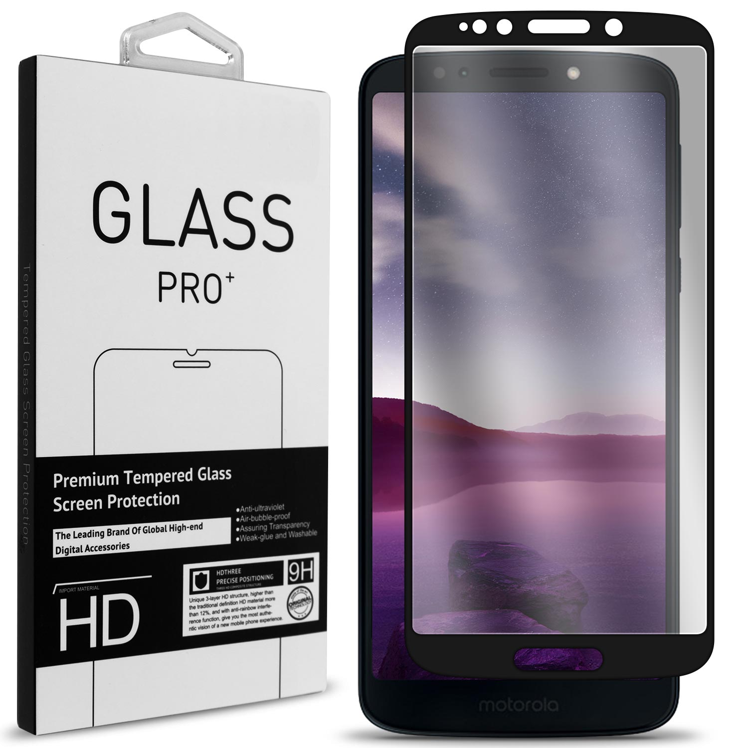 CoverON Motorola Moto G6 Play / Moto G6 Forge Tempered Glass Screen Protector - InvisiGuard Series Full Coverage 9H with Faceplate (Case Friendly)