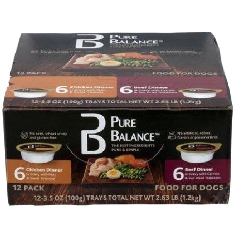 Pure Balance Canned Chicken & Beef Wet Dog Food, 3.5 oz, 12 count