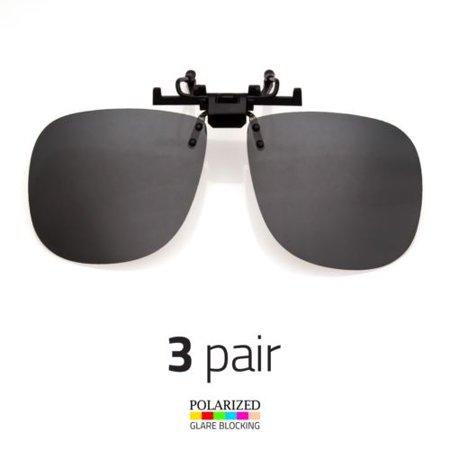 3 PAIR LARGE POLARIZED LENS GLARE BLOCK CLIP ON FLIP UP SUNGLASSES (How Do Sunglasses Block Glare)