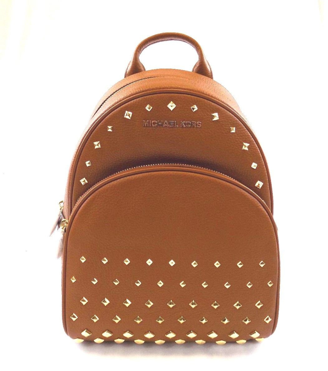 bb67e254f988 ... promo code for new womens michael kors abbey medium studded brown  luggage leather backpack bag c95ad