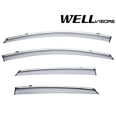 WellVisors Cadillac XTS Sedan 13-19 Rain Sun Snow Deflector Window Visor Chrome