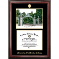 "University of California, Berkeley 8.5"" x 11"" Gold Embossed Diploma Frame with Campus Images Lithograph"