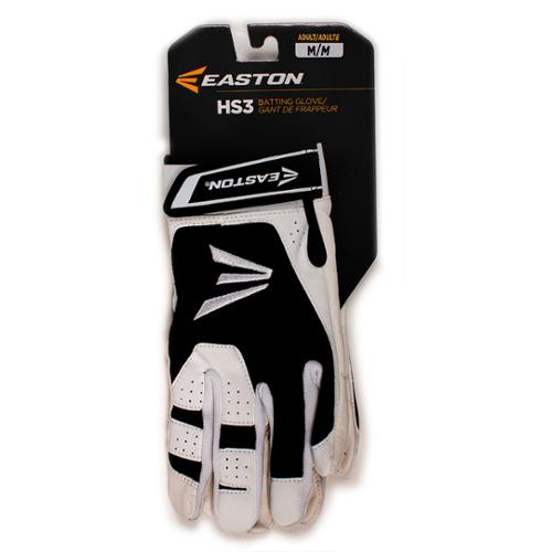 Easton A121843PRM HS3 Adult Batting Gloves, White/Black M