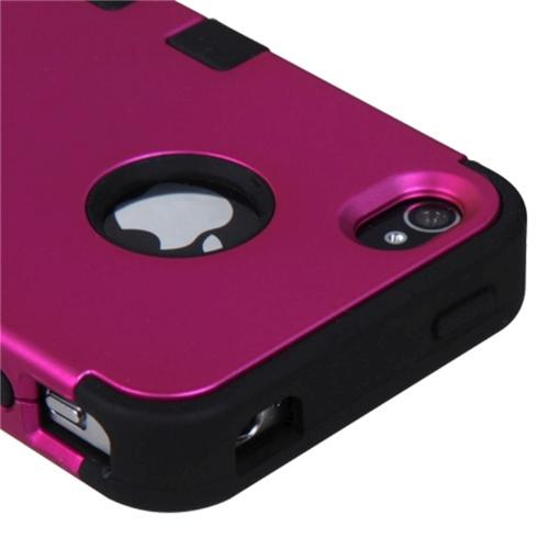 Insten Titanium Solid Hot Pink/Black TUFF Hybrid Rugged Hard Shockproof Case Cover For Apple iPhone 4G 4S