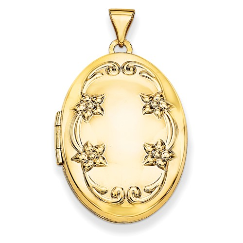 14k Yellow Gold 26mm Oval Floral Scroll Border Locket