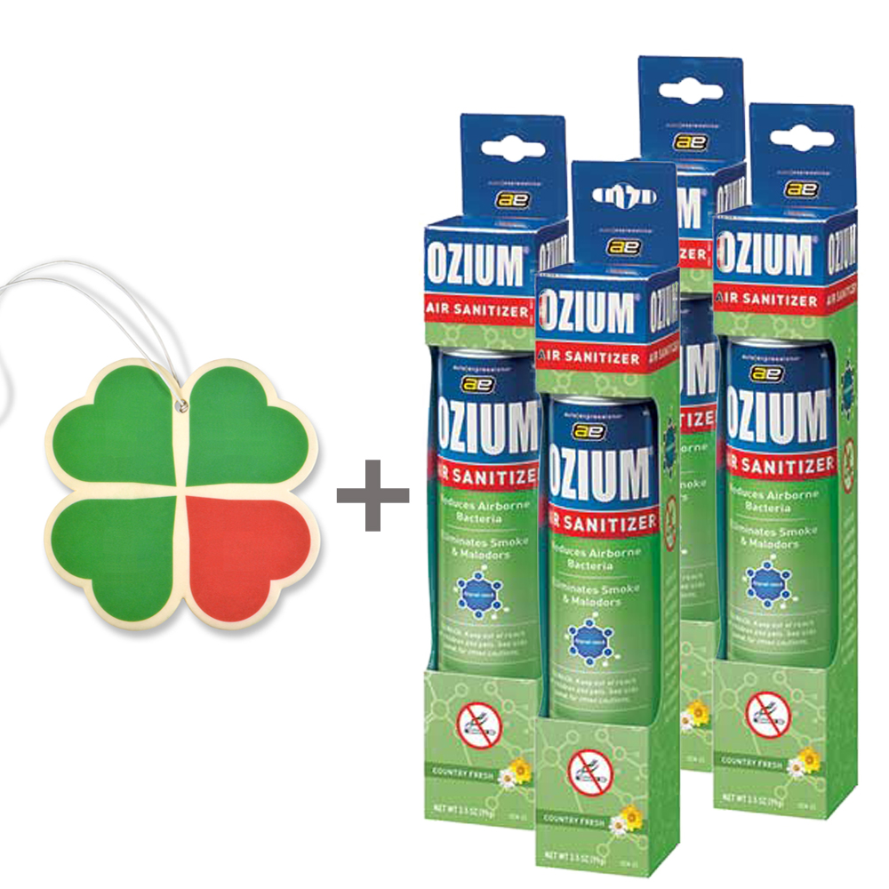 Ozium Spray 3.5oz Ozium Air Sanitizer 4-PACK with A 4-Leaf Clover Car Air Freshener (Country Fresh)