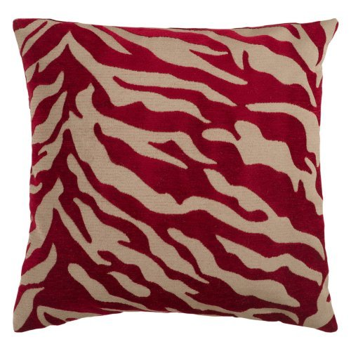 Surya Zebra Decorative Pillow - Maroon