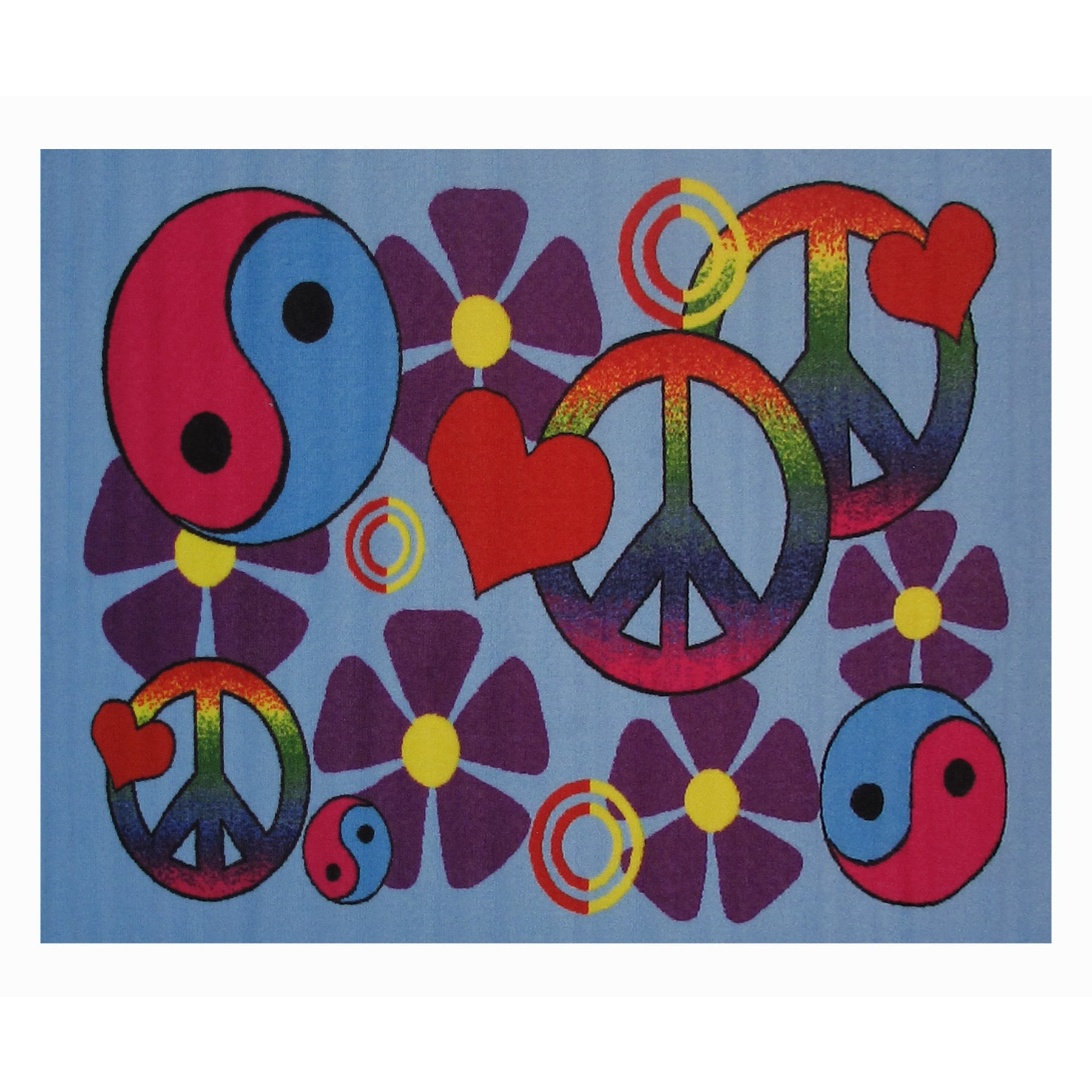 LA Rug Lovely Peace Blue Accent Rug - 3'3 x 4'8