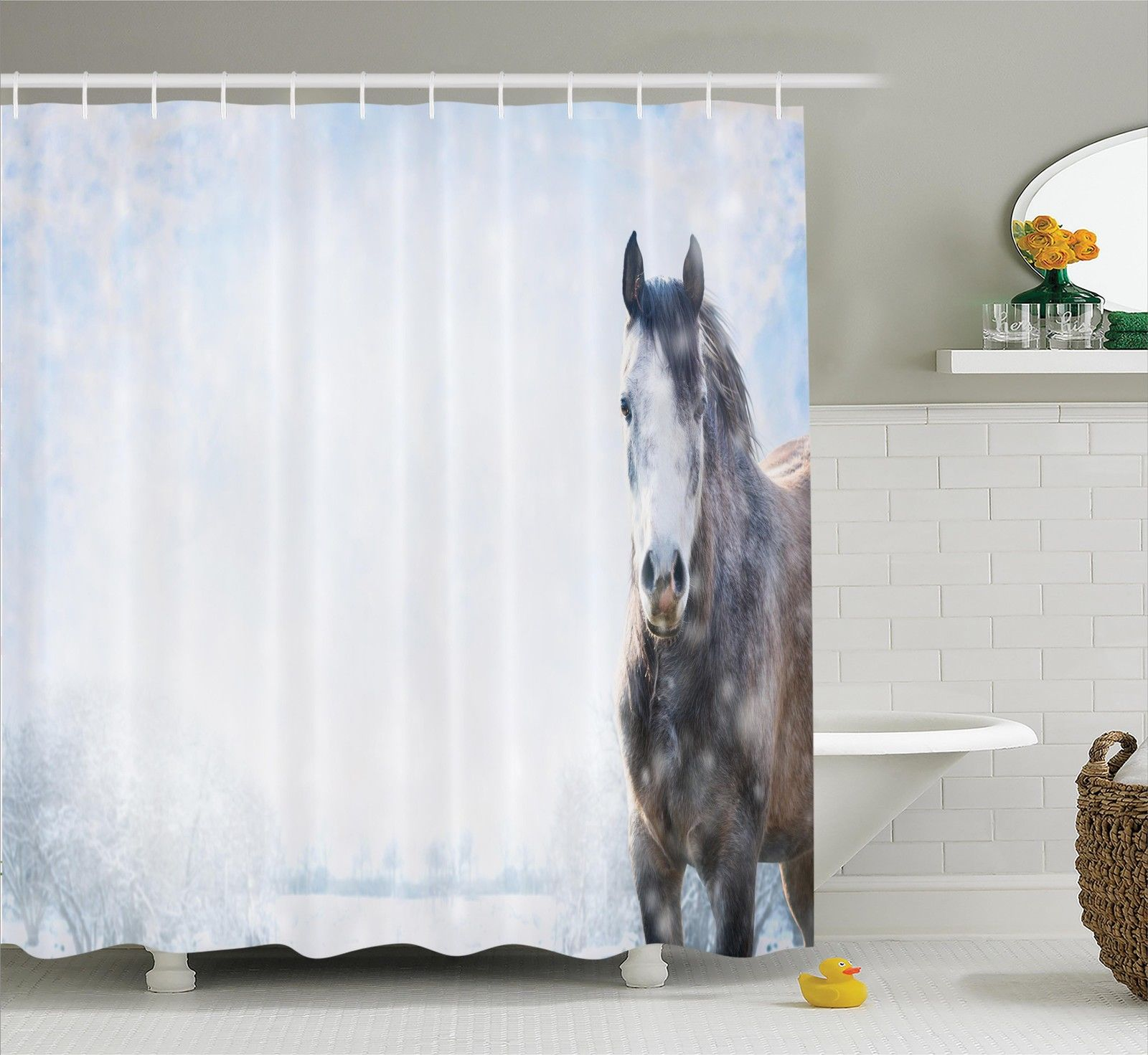 Farm House Decor Shower Curtain Set, Gray Horse On Winter Landscape With Snowfall In Wilderness Royal Animal In Nature, Bathroom Accessories, 69W X 70L Inches, By Ambesonne