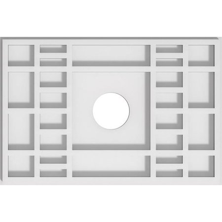 Ekena Millwork CMP12X8BX-02000 2 in. ID x 4 in. Rectangle Beaux Architectural Grade PVC Contemporary Ceiling Medallion - image 1 of 1