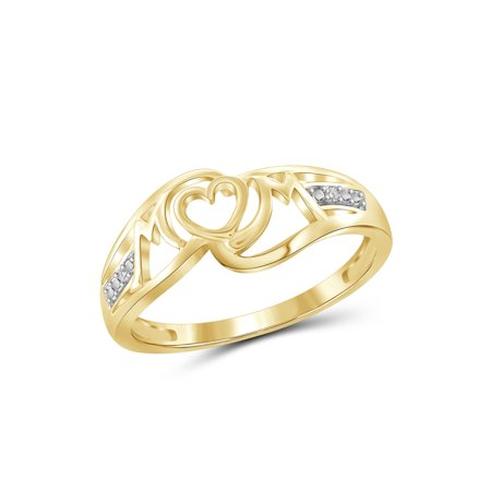 - White Diamond Accent Gold over Silver Mother Ring