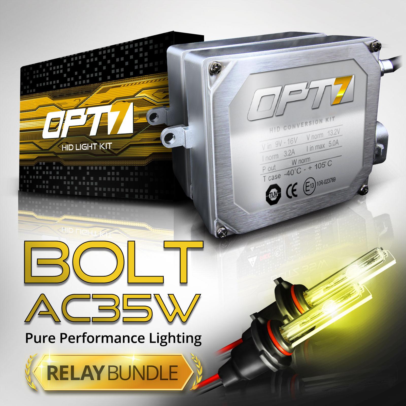 Bolt AC 35w HID Xenon Conversion Kit w/ Relay & Capacitors Bundle H11 [6000K Lightning Blue] 2 Yr Warranty