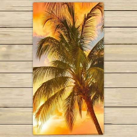 Zkgk Tropical Paradise Beach With Palm Trees And The Seaocean Hand Towel Bath Towels For Home Outdoor Travel Use Size 30x56 Inches