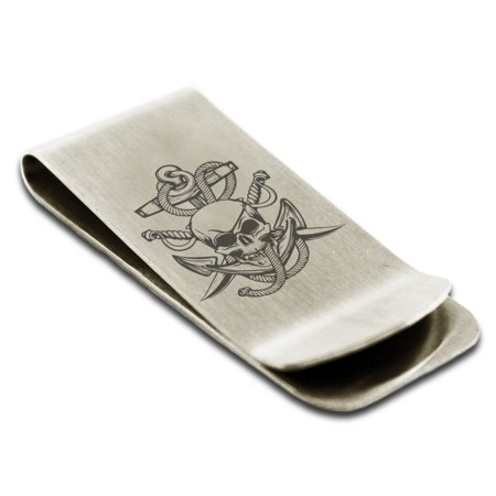 Stainless Steel Pirate Skull Anchor & Sabers Engraved Money Clip Credit Card Holder