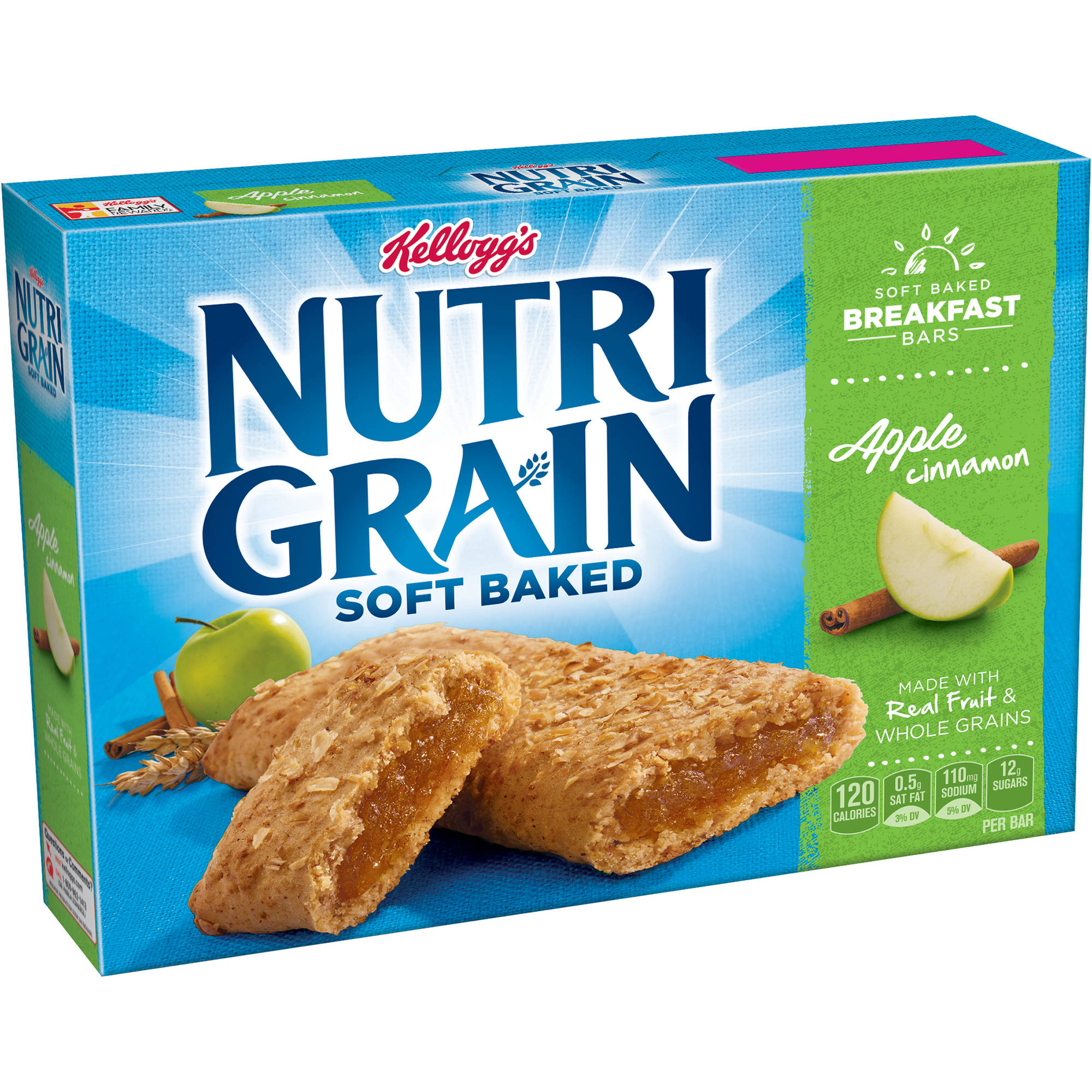 Kellogg's Nutri-Grain Soft Baked Apple Cinnamon Breakfast Bars, 1.3 oz, 8 count