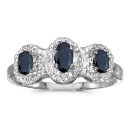 - 10k White Gold Oval Sapphire And Diamond Three Stone Ring
