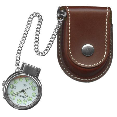Leather Stainless Steel Pocket Watch (Leather Pouch Pocket Watch w/ Magnifying)