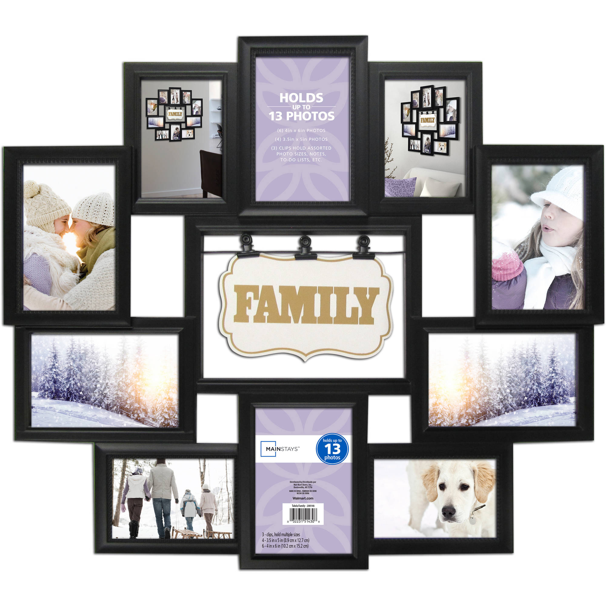 Mainstays 11 Opening Collage Frame Black Family Walmartcom