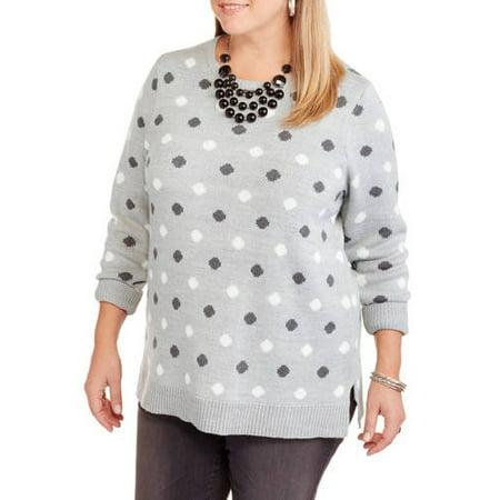 Faded Glory - Women s Plus-Size Printed Crew Neck Sweater - Walmart.com d871f7866f