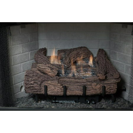 "Palmetto Oak 18"" 5-Piece Refractory Log Set & NG Manual Control Burner"