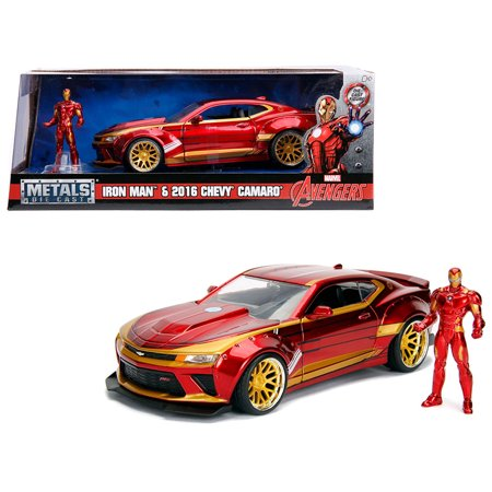 Jada Toys Hollywood Rides 1:24 Scale 2016 Chevrolet Camaro with Iron Man Diecast Figure Marvel - 18 Scale Diecast Kit