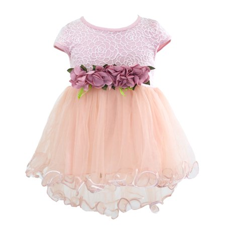 Pink Party Dress - Styles I Love Infant Baby Girls Sleeveless Lace Flower Princess Tulle Dress Party Birthday Wedding Outfit, 4 Colors (Pink, 80/6-12 Months)