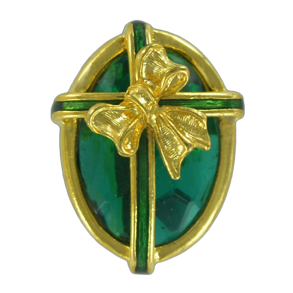St Patricks Day Faux Emerald Green Jewel Oval Gift Pin Brooch by