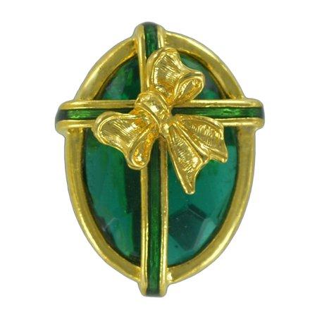 St Patricks Day Faux Emerald Green Jewel Oval Gift Pin Brooch