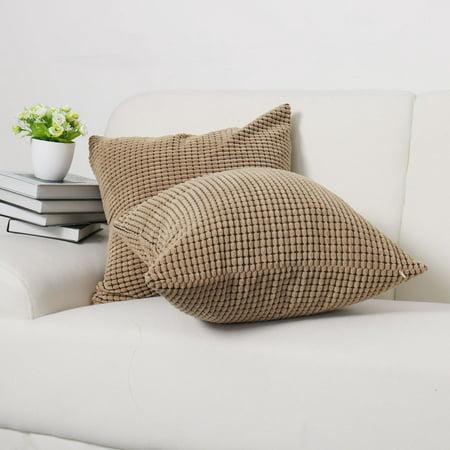 "Sofa Cushion Cover Striped Corduroy Throw Toss Pillow Cases 18"" Brown - image 6 de 7"