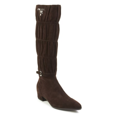 Brown Suede High Heel - Prada Women's Suede High Heel Boot Shoes Brown