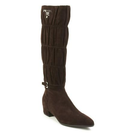 Prada Women's Suede High Heel Boot Shoes Brown