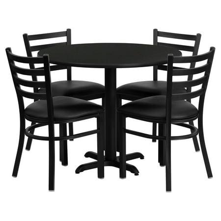 Flash Furniture 36'' Round Black Laminate Table Set with 4 Ladder Back Metal Chairs, Black Vinyl Seat Black