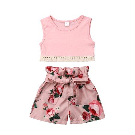 Kids Baby Girls Summer Clothes Vest Tops Floral Shorts Pants 2PCS Outfits Set ()