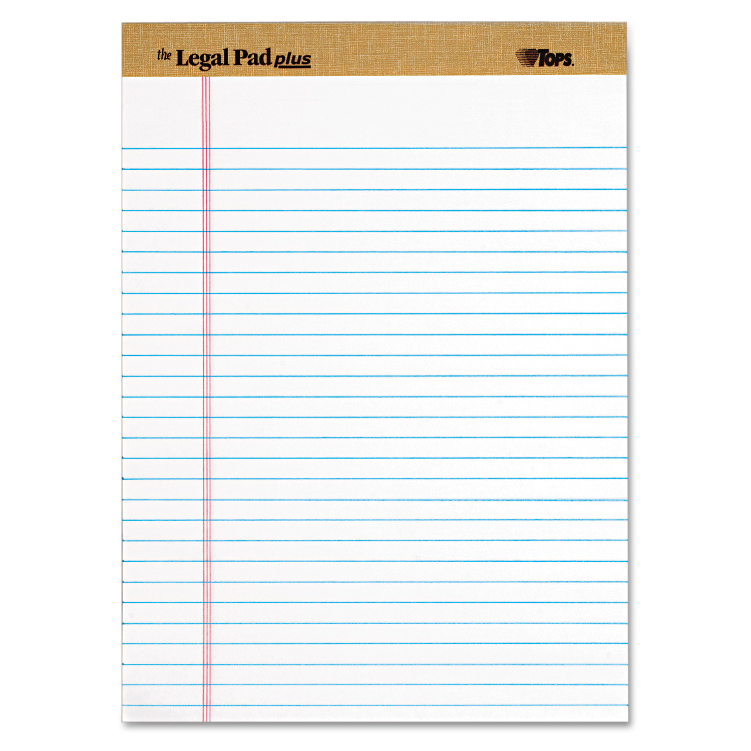 "TOPS ""The Legal Pad"" Ruled Perforated Pads, Legal/Wide, 8 1/2 x 11 3/4, White, Dozen"