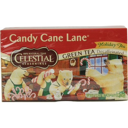 Celestial Seasonings Holiday Green Tea - Candy Cane Lane - Decaffeinated -20 Bag