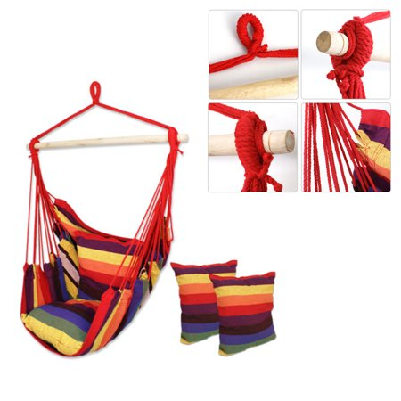Lowestbest Hammock Swing, Portable Hammock Chairs for Patio, Yard, Swing Chair for Outdoor, Swing Seat for Bedroom, Rainbow Stripe Cotton Canvas Hanging Chair with 2 Pillows ()