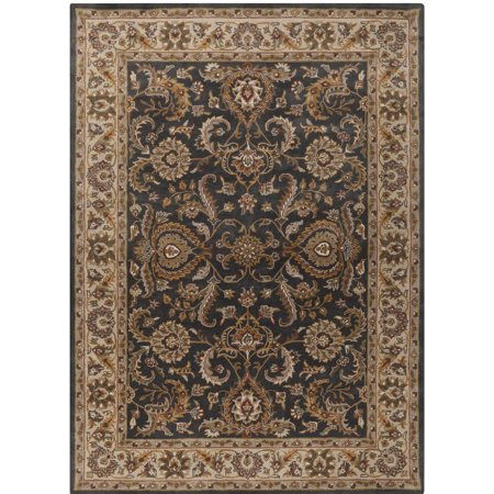 8' x 11' Persian Floral Brown and Blue Rectangular Hand Tufted Wool Area Throw Rug Brown 8'0'x11'0' Rectangular Rug