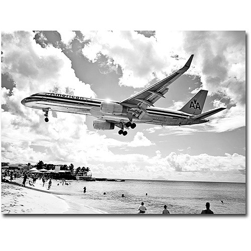 "Trademark Art ""American Airliner"" Canvas Wall Art by Preston, 18x24"