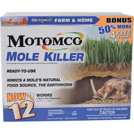 008-34310 198880 Mole Killer Ready to Use Bonus, 12 Worm Box, Scientifically designed and tested to mimic a mole's natural food source By Motomco