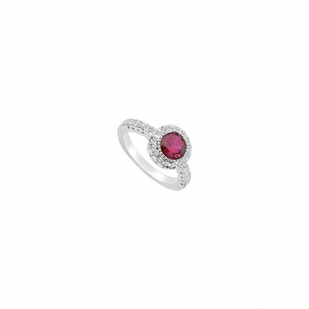 UBUK348W10CZR-118RS9.5 Created Ruby & Cubic Zirconia Ring 10K White Gold, 2.50 CT - Size 9.5