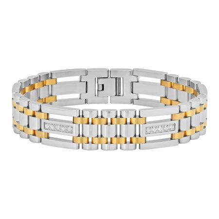 Men's Stainless Steel Cubic Zirconia Two-Tone Bracelet, 9