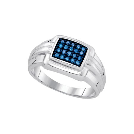 Sterling Silver Mens Round Blue Colored Diamond Band Wedding Anniversary Ring   25 Cttw