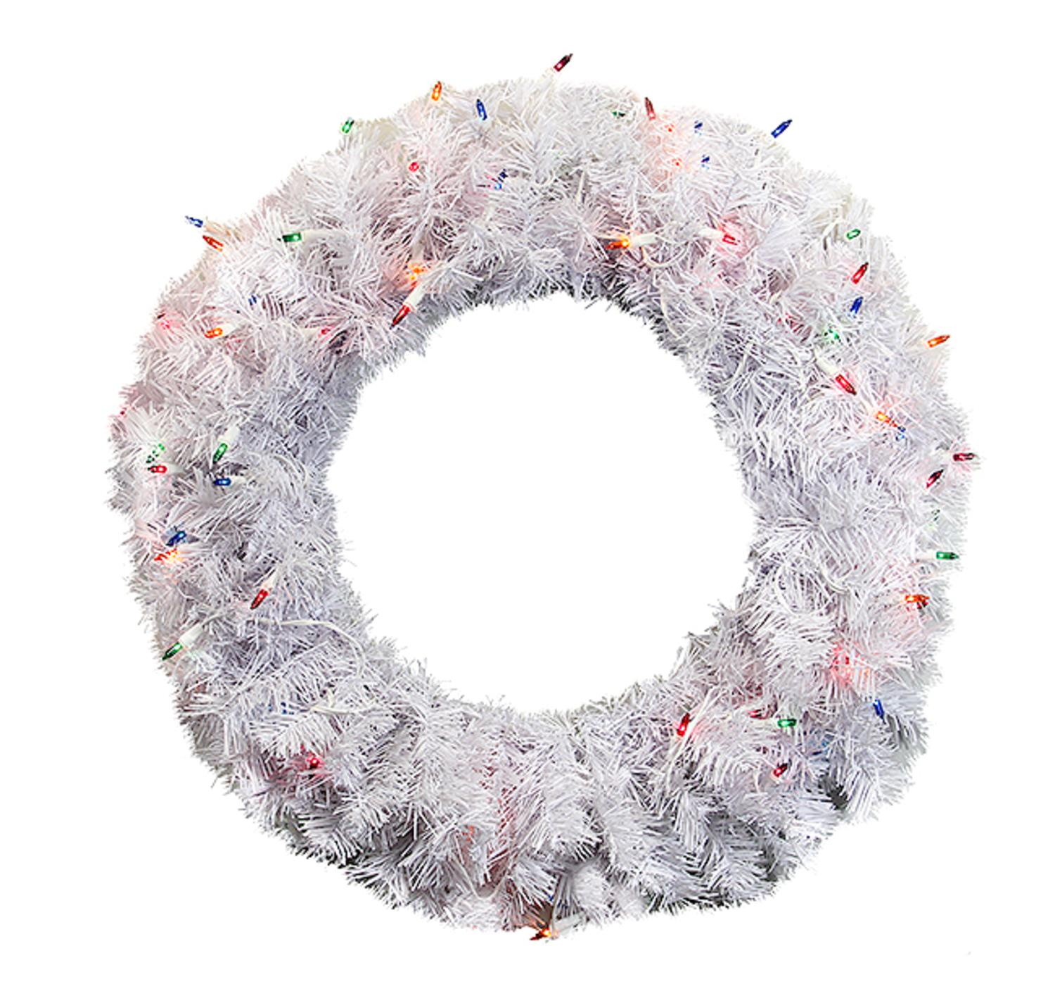 "24"" Pre-Lit White Cedar Pine Artificial Christmas Wreath - Multi Lights"