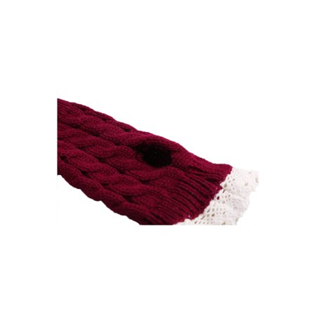 Unisex Winter Lace Warmers Ribbing Thumb Hole Gloves Burgundy 1 Pair - image 6 of 7